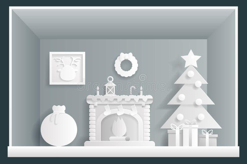 纸艺术Cristmas室新年议院贺卡元素平的设计模板传染媒介例证 皇族释放例证