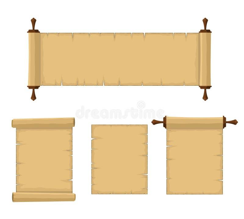 纸莎草在白色背景隔绝的纸集合空白的老纸卷  在平的样式的空白的减速火箭的纸莎草板料 库存例证