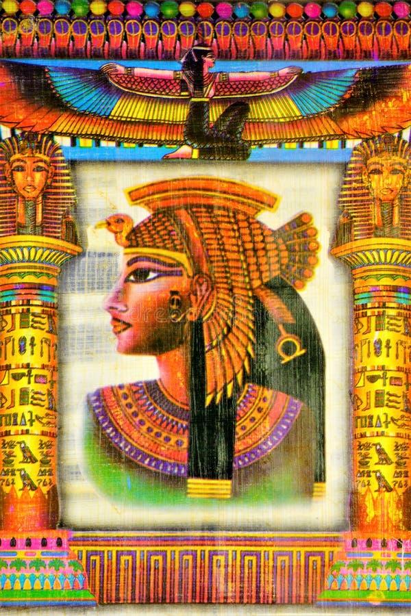 纸莎草埃及女王帕特拉,上古的一名著名妇女 帕特拉有两了不起的罗马将军朱利叶斯的注意 免版税库存照片