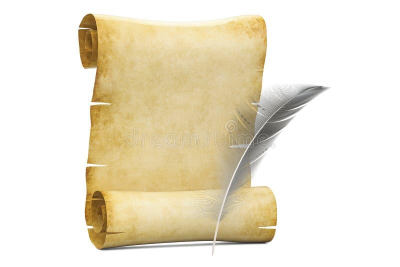 纸莎草空白的卷与羽毛, 3D的翻译 皇族释放例证