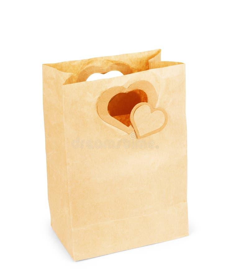 纸袋为在白色背景的情人节 库存照片