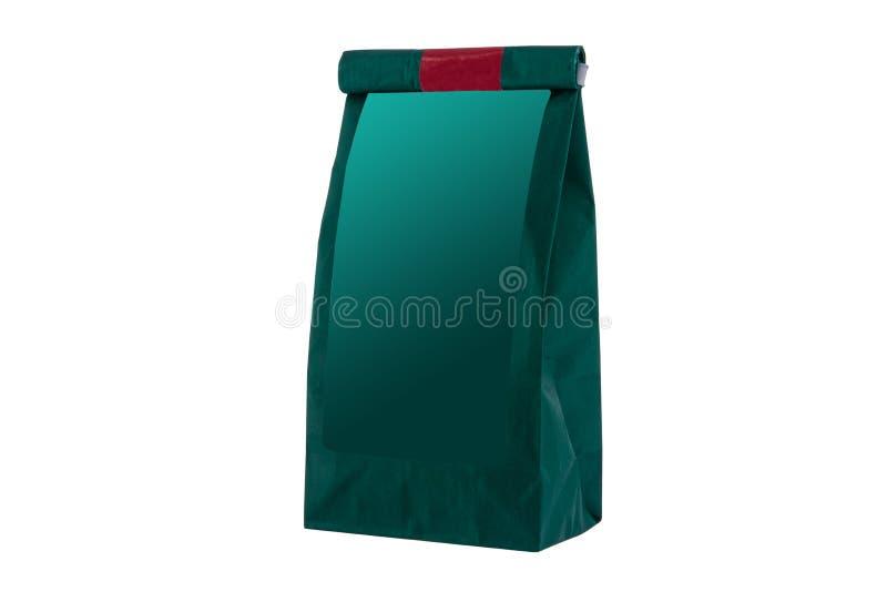 纸袋用茶的,裁减路线草本,隔绝在白色背景 免版税图库摄影