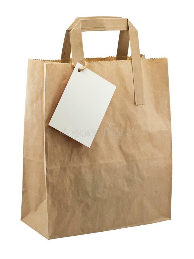 纸袋被隔绝的空白标记 图库摄影