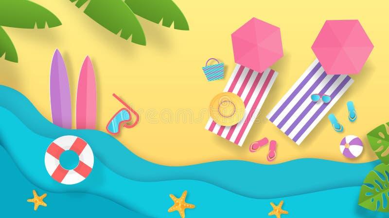 纸被切开的夏天海滩 假期背景有波浪伞和海边顶视图  传染媒介夏天休假海报 皇族释放例证