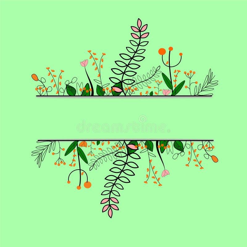 纸被削减的背景的植物和花举行 库存例证