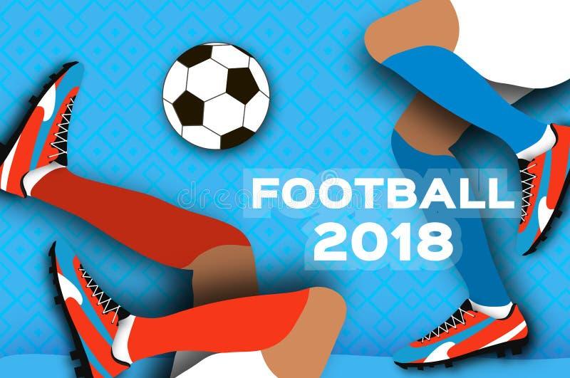 纸裁减样式的足球运动员 Origami体育 皇族释放例证