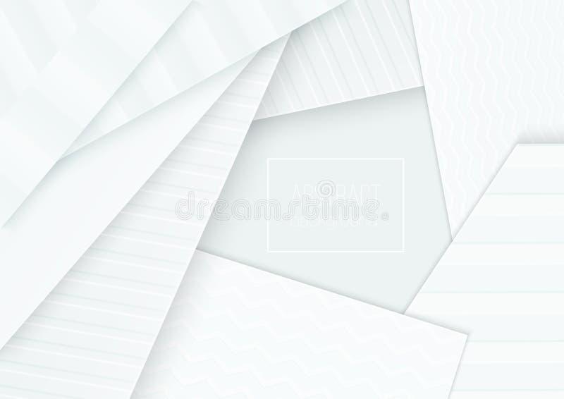 纸裁减横幅概念 纸弯曲了卡片海报小册子飞行物设计的抽象背景在软浅灰色 库存例证
