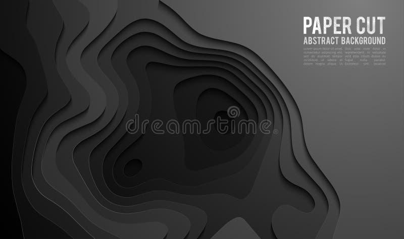 纸裁减横幅概念 纸雕刻卡片海报小册子飞行物设计的黑背景在黑颜色 3d 皇族释放例证