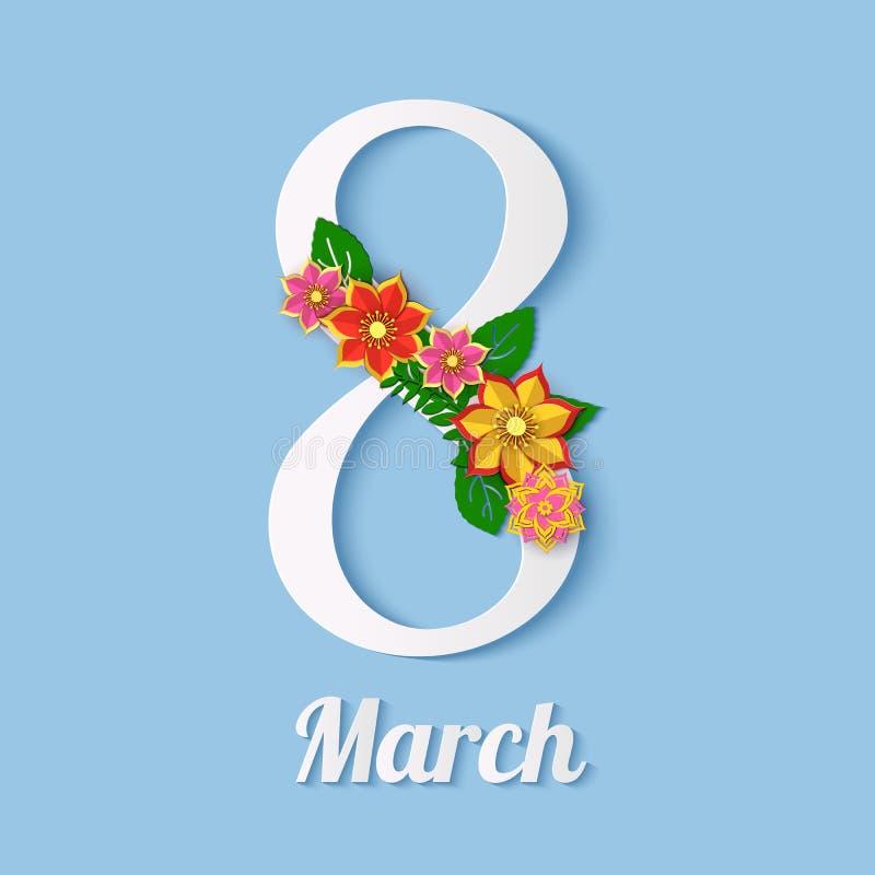 """纸裁减花卉8次行军贺卡 愉快的妇女` s天 在蓝色背景的纸花与与""""8""""字形 库存例证"""