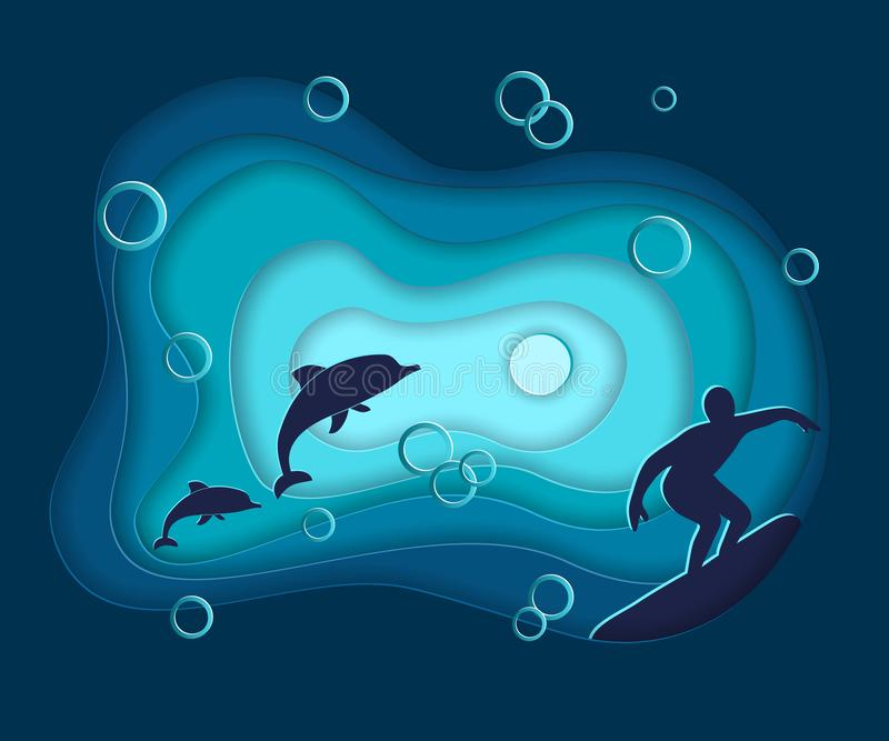 纸裁减,传染媒介海海洋与波浪,海豚,冲浪,在3d样式origami设计的层数的水风景 蓝色横幅 库存例证