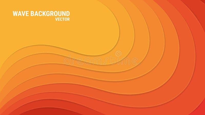 纸裁减 3d作用…工厂的绿色叶子 与阴影和强光的橙色波浪层数 抽象背景向量 皇族释放例证