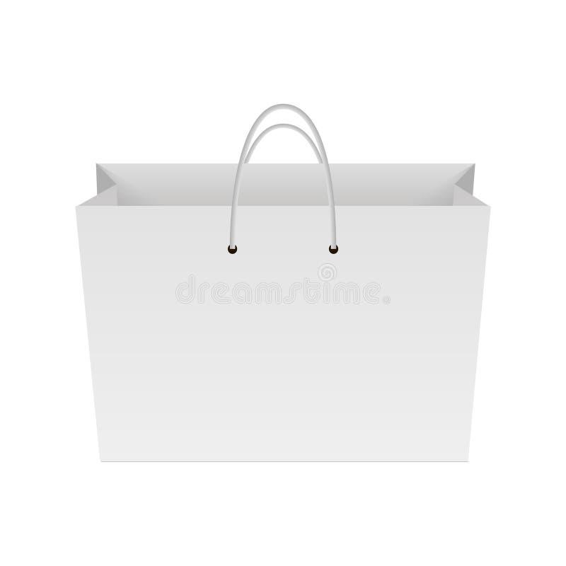 纸购物袋空白  嘲笑为您的设计 向量 向量例证