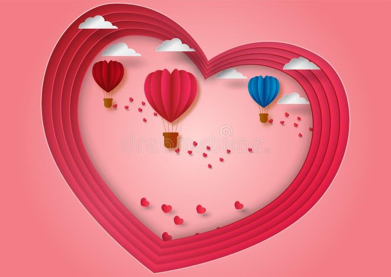 纸雕刻对华伦泰` s心脏飞行气球形状的天概念有桃红色背景,传染媒介例证 皇族释放例证
