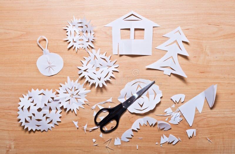 纸雪花和剪刀 库存图片