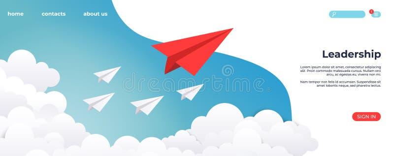纸领导着陆 创造性的概念想法、企业成功和领导视觉最小的成功 r 库存例证
