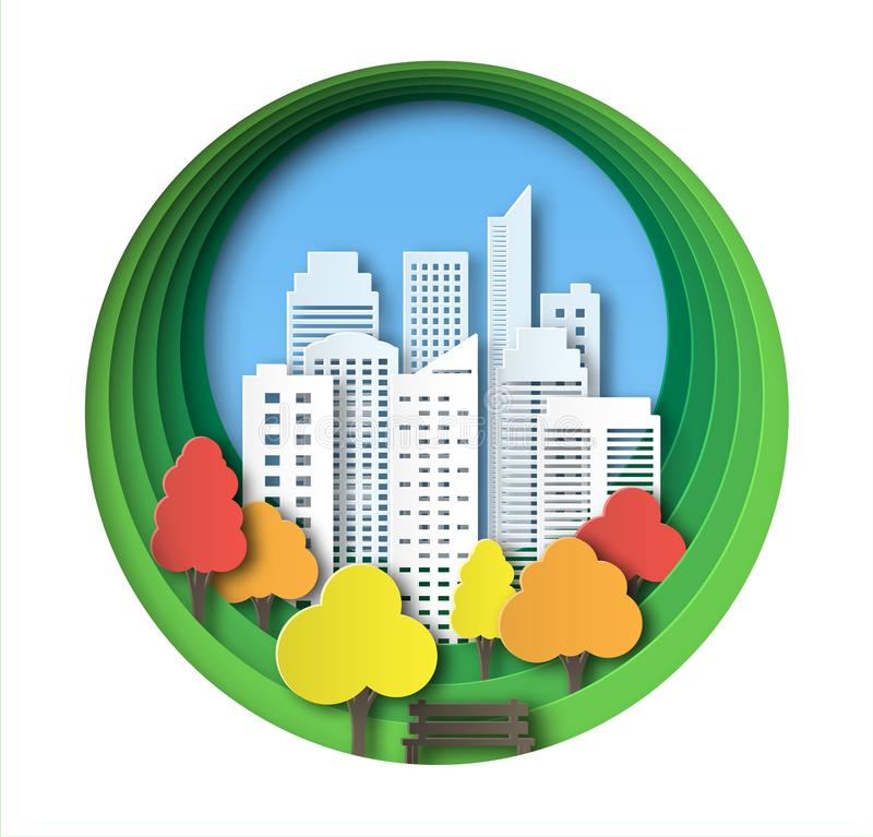 纸风景艺术样式在秋季城市和公园 层状设计室外休闲 由树的长凳 ?? 向量例证
