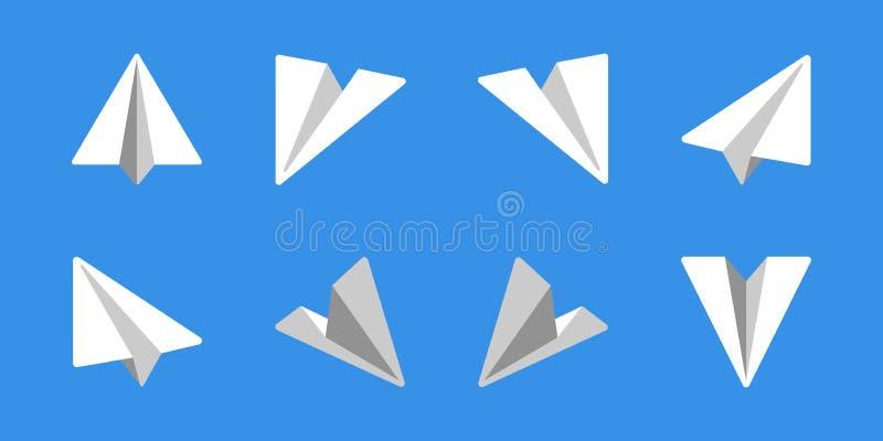 纸飞机平的象集合 库存例证