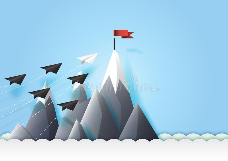 纸飞机配合伸手可及的距离红色目标 向量例证