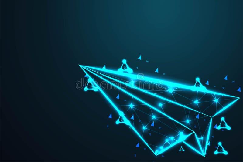 纸飞机飞机,摘要导线低多,多角形导线框架滤网看起来象在深蓝夜空的星座与 向量例证