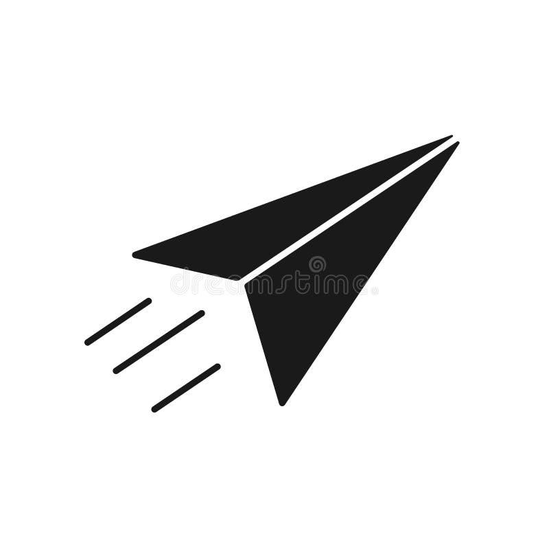 纸飞机黑被隔绝的象在白色背景的 纸飞机剪影  平的设计 皇族释放例证