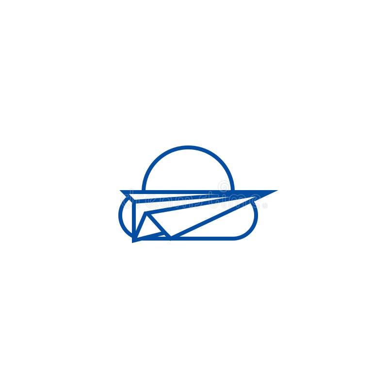 纸飞机,自由线象概念 纸飞机,自由平的传染媒介标志,标志,概述例证 向量例证