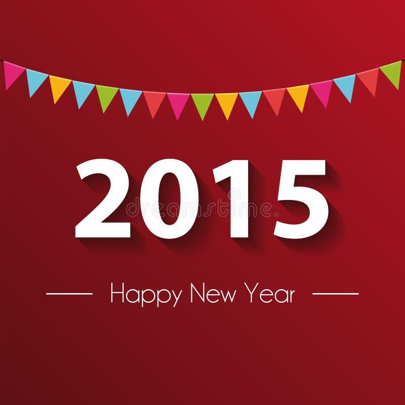 纸2015年新年快乐有红色背景 皇族释放例证