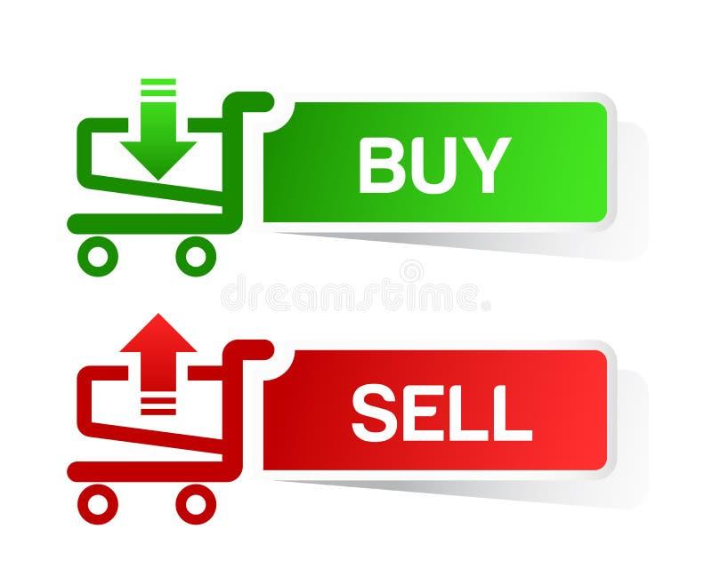 贴纸购物车项目,台车,买进卖出,但是 库存例证