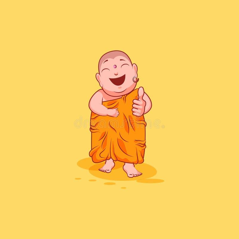 贴纸emoji意思号情感传染媒介被隔绝的例证不快乐的字符动画片菩萨批准与赞许 皇族释放例证