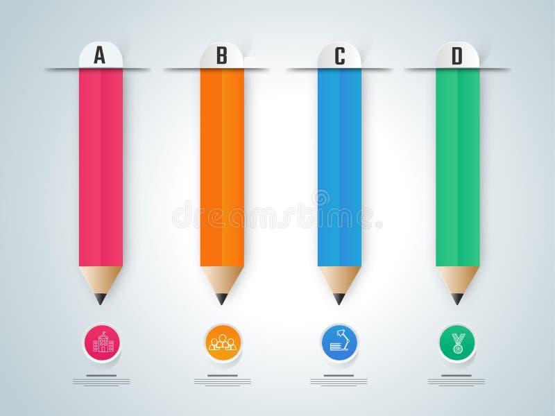 纸infographic, l铅笔 教育infographics 皇族释放例证