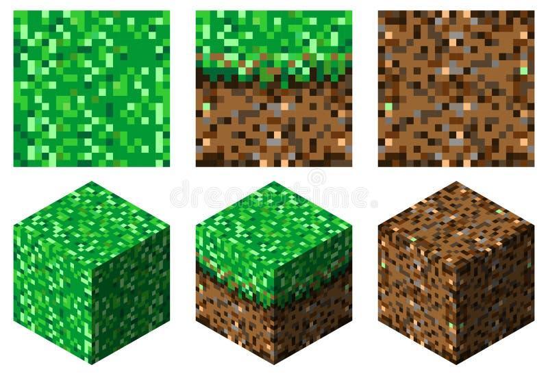 纹理和立方体在minecraft stylegreen棕色草和地球 免版税库存照片