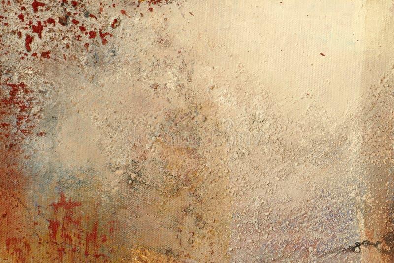 纹理和背景,绘在帆布,茶黄和红色 库存图片