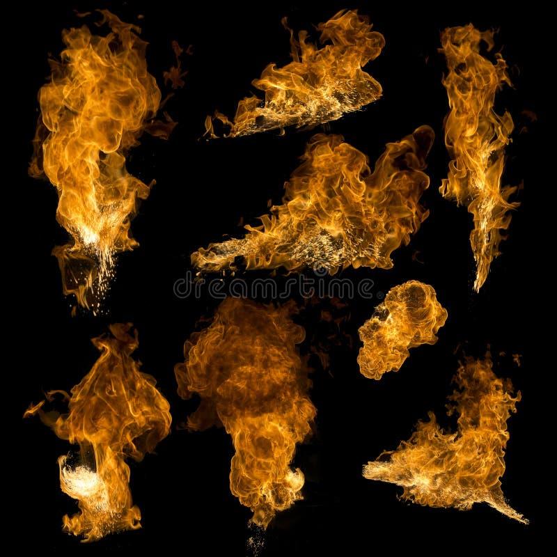 纹理在黑背景隔绝的火收藏 图库摄影
