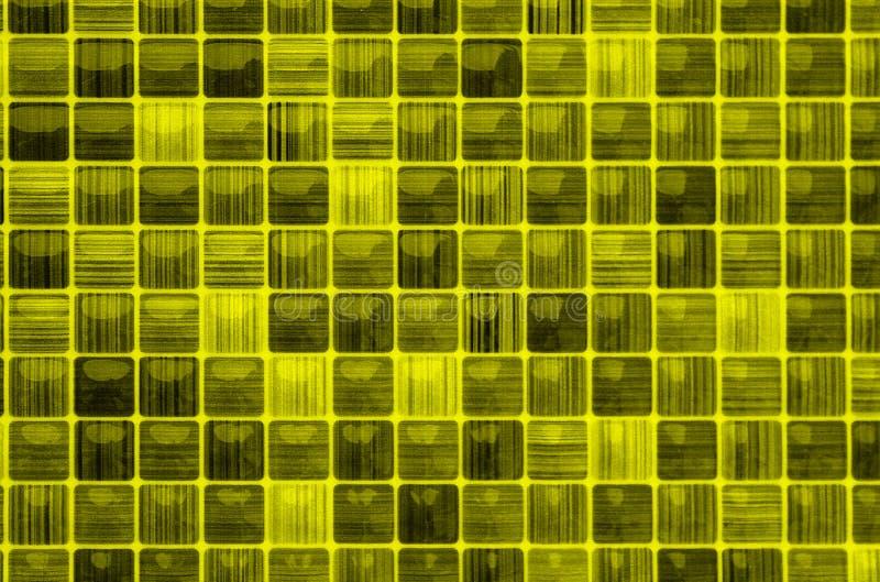 纹理小马赛克黄色颜色玻璃背景 免版税库存照片