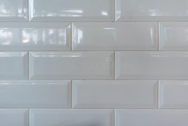 纹理或背景的白色瓷砖样式 库存图片