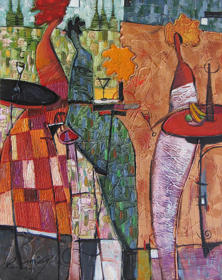 纹理油画 创作罗马Nogin,系列`妇女` s谈话 ` 免版税库存图片