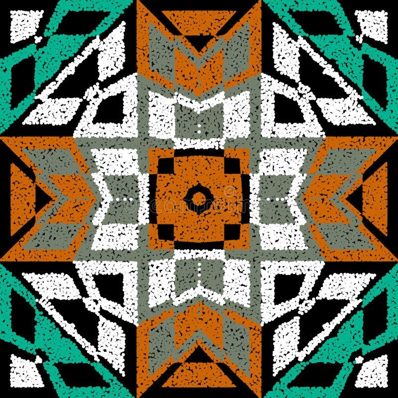 纹理纹纹纹革花彩色无缝图案 Vector ornamental geometric tribal background 民族风格重复图案 库存例证
