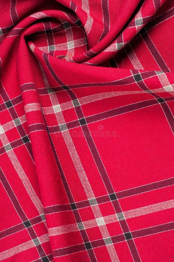 纹理,样式 苏格兰格子呢样式 红色和黑羊毛p 库存照片