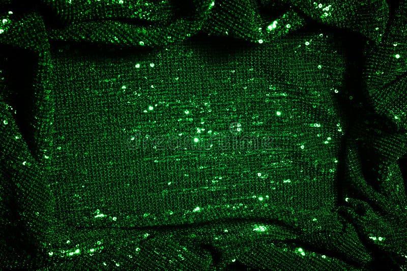 纹理,背景,样式,与paillettes的绿色织品 做 免版税图库摄影