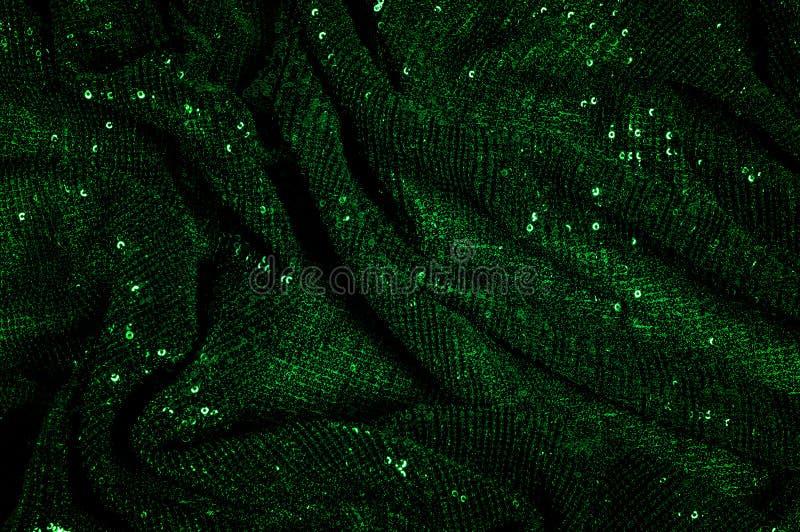纹理,背景,样式,与paillettes的绿色织品 做 库存图片