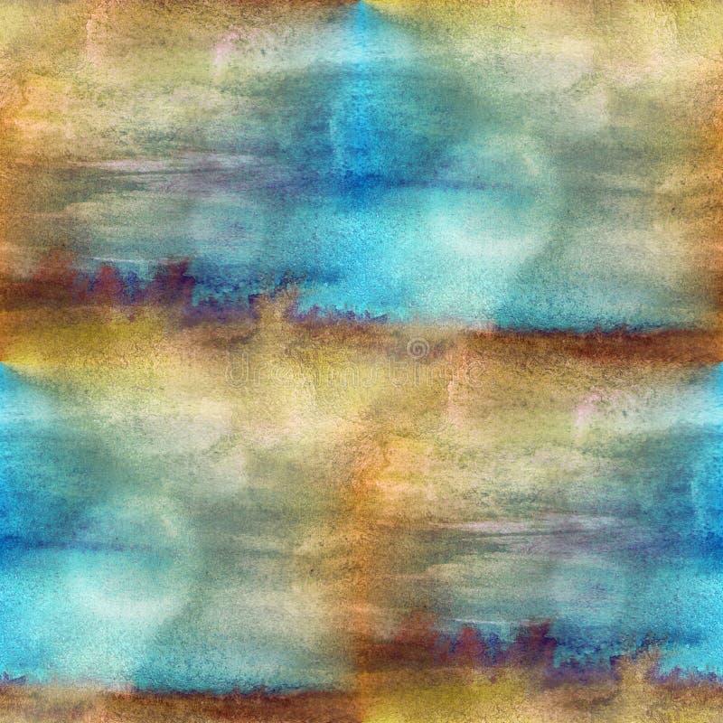 纹理水彩褐色,蓝色无缝 库存例证
