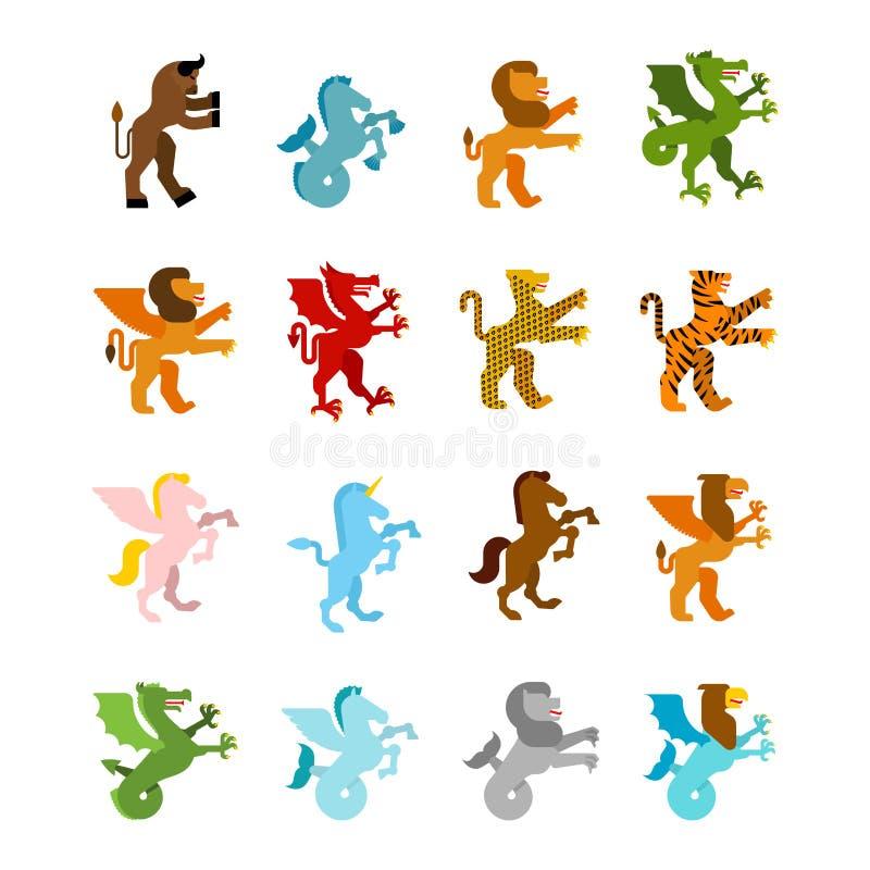 纹章学动物集合 海怪和狮子 龙和双足飞龙 f 向量例证