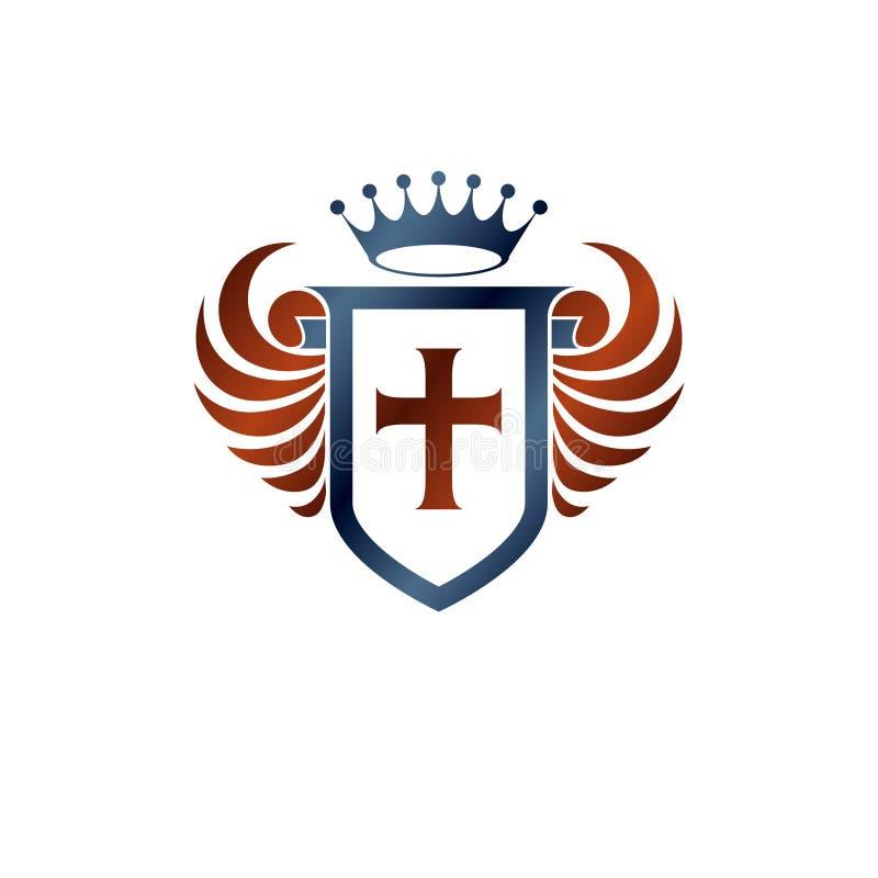 纹章学徽章与宗教十字架和国君冠,被隔绝的传染媒介例证的装饰象征 飞过的保护 向量例证