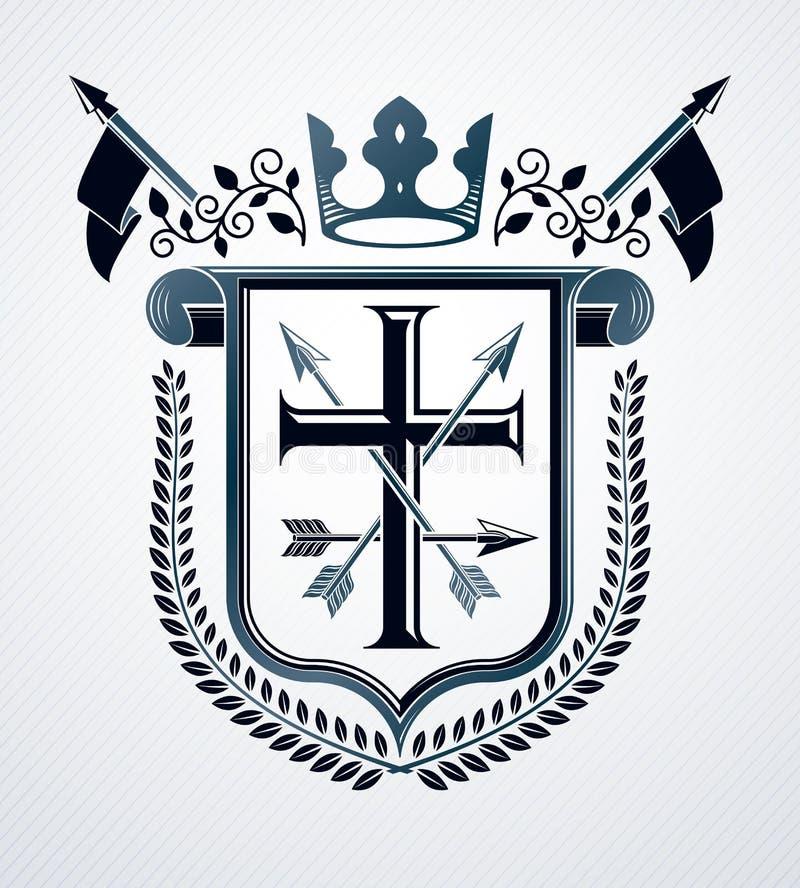 纹章学徽章装饰象征被隔绝的传染媒介例证 皇族释放例证