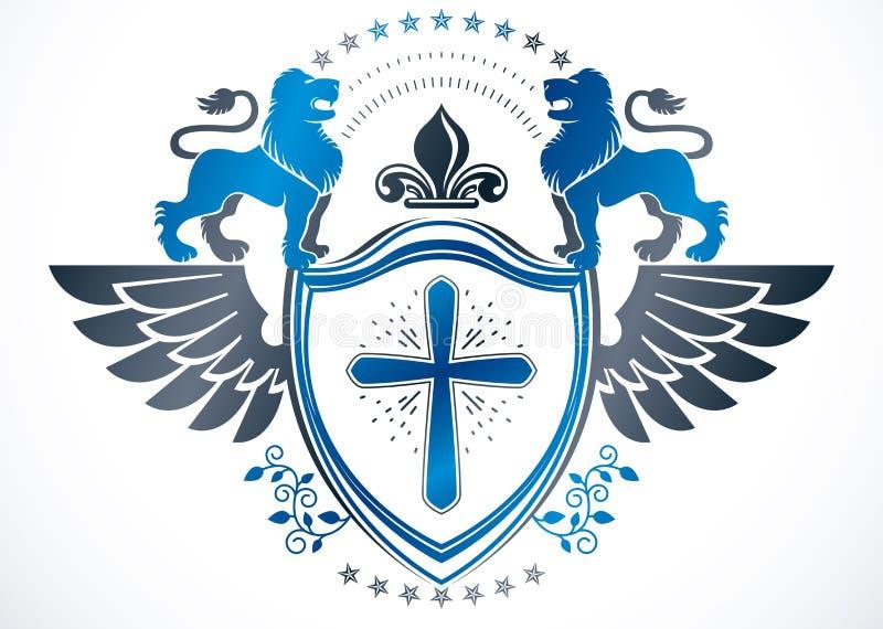 纹章学徽章装饰象征隔绝了传染媒介illustra 皇族释放例证