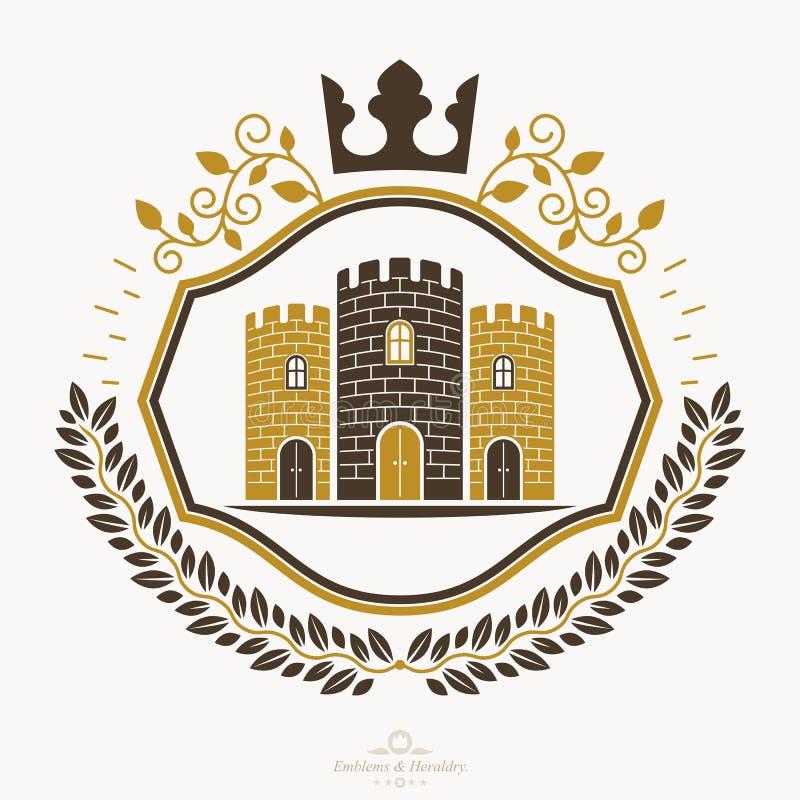 纹章学徽章,葡萄酒象征 向量例证