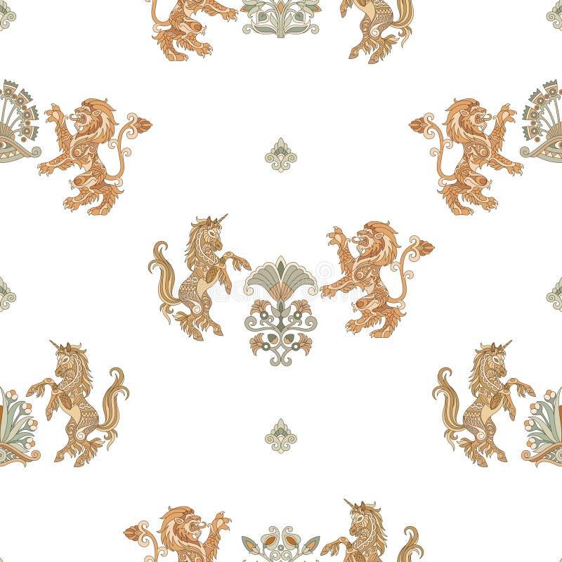 纹章学独角兽和狮子无缝的样式 皇族释放例证