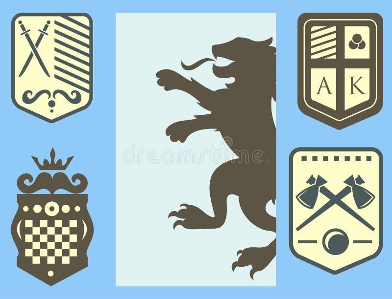 纹章学狮子皇家冠中世纪骑士剪影葡萄酒国王标志纹章城堡徽章传染媒介例证 向量例证