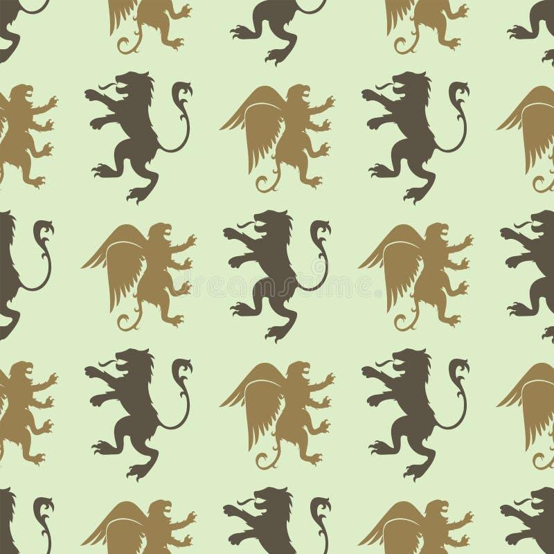 纹章学狮子皇家冠中世纪骑士剪影葡萄酒无缝的样式国王标志纹章传染媒介例证 库存例证
