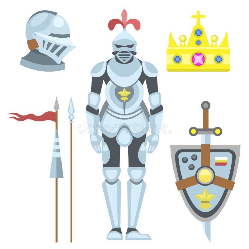 纹章学皇家冠中世纪骑士元素葡萄酒国王标志纹章勇敢的英雄传染媒介例证 向量例证