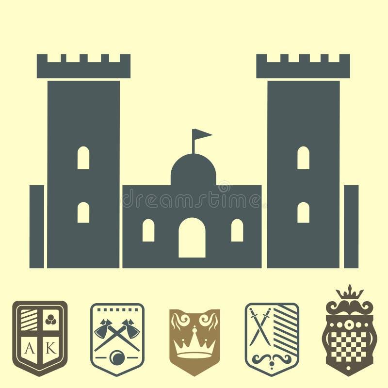 纹章学皇家冠中世纪骑士元素葡萄酒国王标志纹章城堡徽章传染媒介例证 库存例证